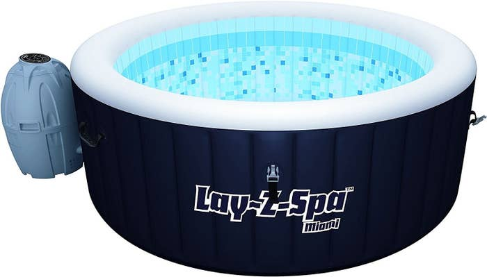 This portable inflatable hot tub can heat up to 40 degrees! And it has massage jets! And here you were using conventional heating methods like a chump!