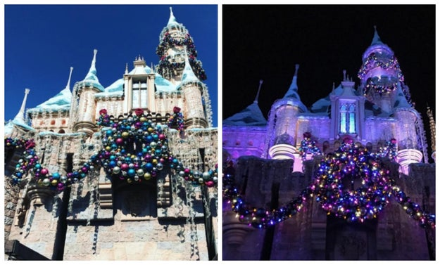 Sleeping Beauty Castle gets decked out with fancy lights and beautiful ornaments.