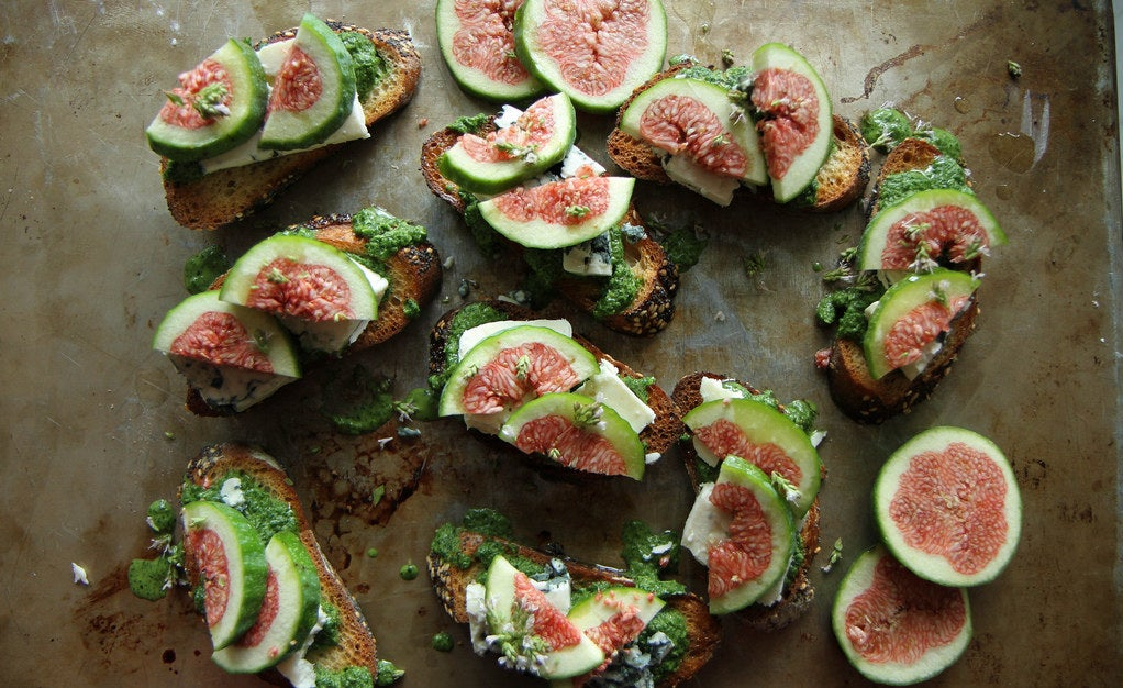 These vibrant fresh fig, rocket (arugula), and blue cheese crostini make an ideal last-minute appetiser and pair wonderfully with a glass of white whine.Get the recipe here.