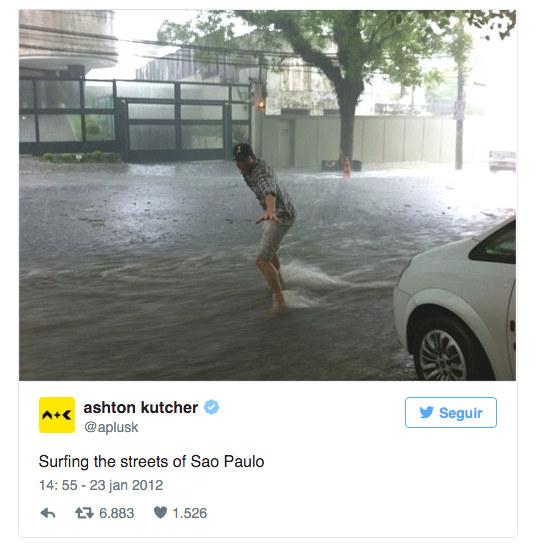 """Numa experiência legitimamente urbana, Ashton Kutcher """"pegou uma onda"""" numa enchente de São Paulo."""