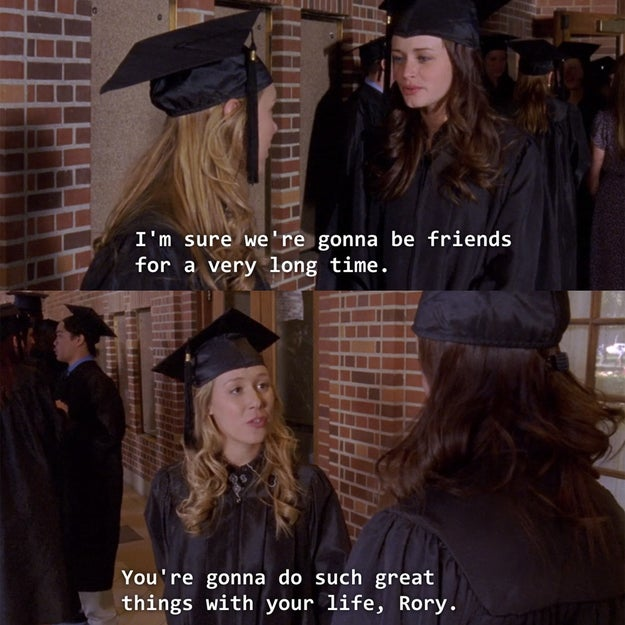 Rory and Paris share a sweet moment during their graduation from Yale.