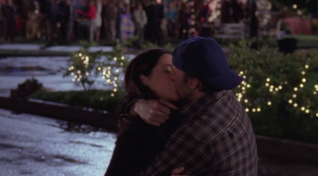 Lorelai thanks Luke for throwing the party and they share a kiss. So, we assume they get back together.