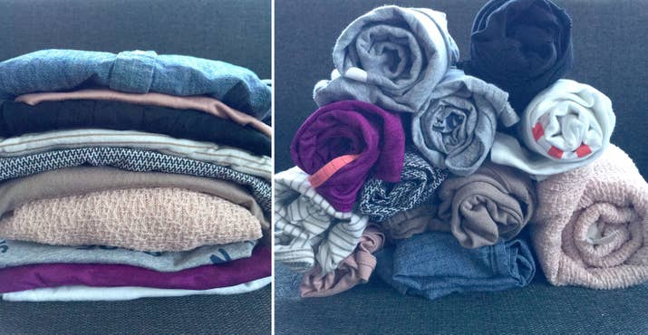 Brilliant Packing Hacks If You Dont Wanna Check In Luggage - Simple trick changes everything knew packing t shirts just brilliant
