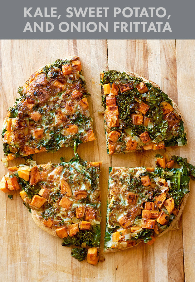 Kale, Sweet Potato, and Onion Frittata