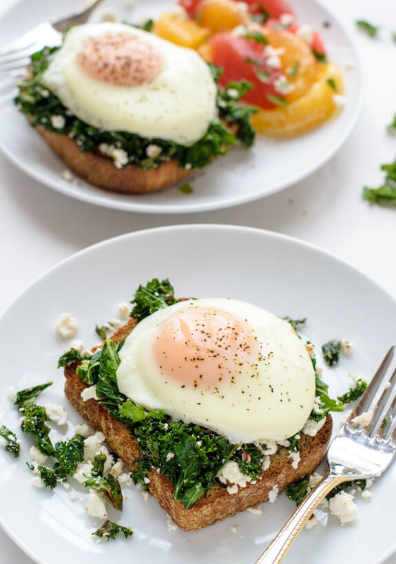 Easy Kale, Feta, and Egg Toast