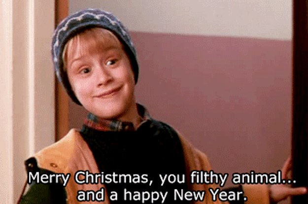 which festive movie quotes make you feel all warm and fuzzy - Merry Christmas You Filthy Animal Gif
