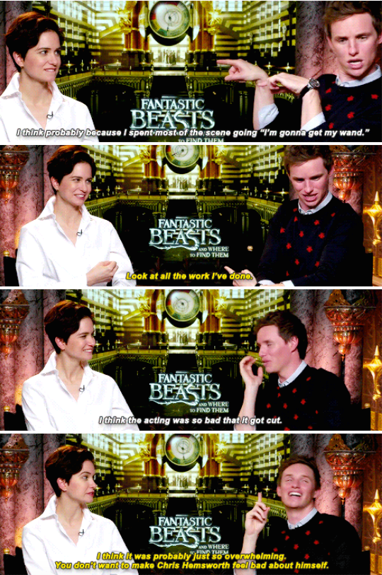 When he revealed that his shirtless scene was cut from Fantastic Beasts because he was too busy showing off his guns to focus on the acting.