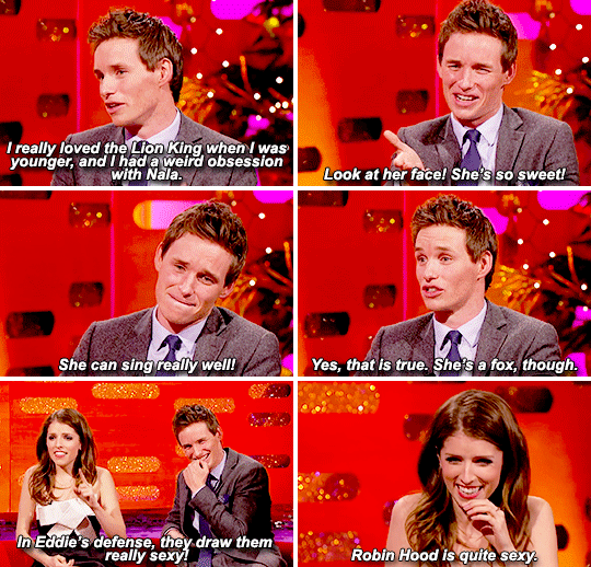When he revealed that he had a crush on a cartoon character as a child, and Anna Kendrick had to rush to his defence.
