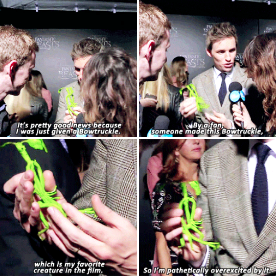 When he was given a handmade Bowtruckle at the premiere of Fantastic Beasts, and he geeked out over that too.