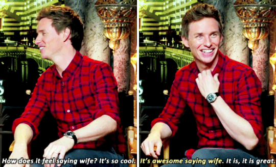 OH, and then when he talked about how cool it is to be able to call her his wife.