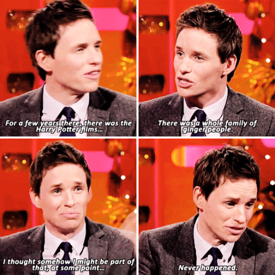 When he expressed his disappointment at never being cast in one of the Harry Potter films.