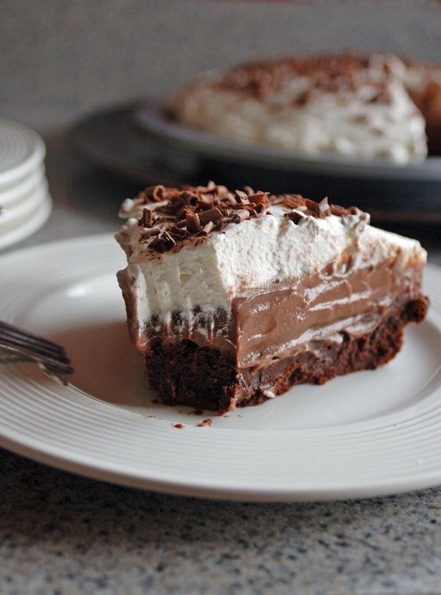 Brownie Bottom Chocolate Pudding Pie