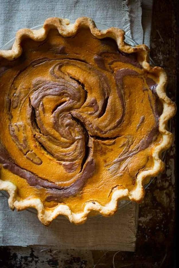 Chocolate Swirl Pumpkin Pie
