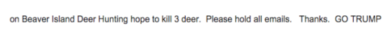 John Haggard, an elector from Michigan, put up an auto-response saying he had gone hunting.