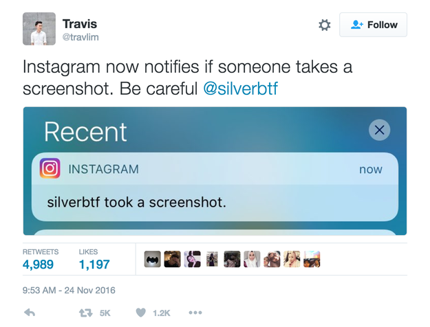 And now people have discovered that Instagram sends a NOTIFICATION when someone takes a screenshot of your private disappearing photo.