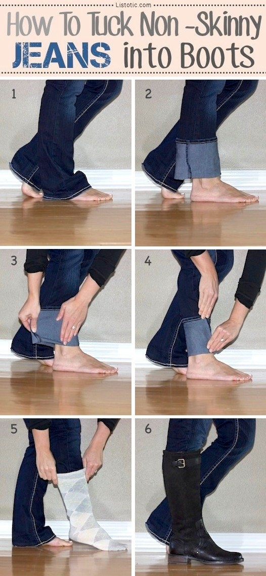 Master the art of tucking jeans into your boots without any bunching.