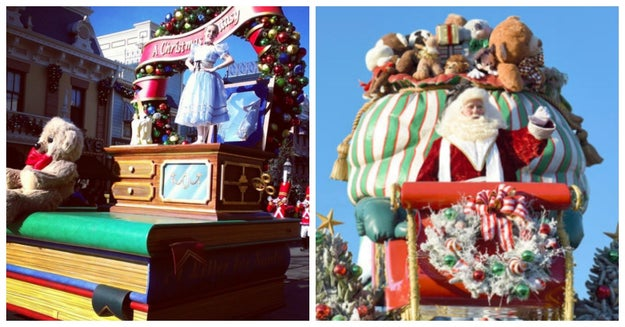 The special Christmas Fantasy parade features Santa Claus.