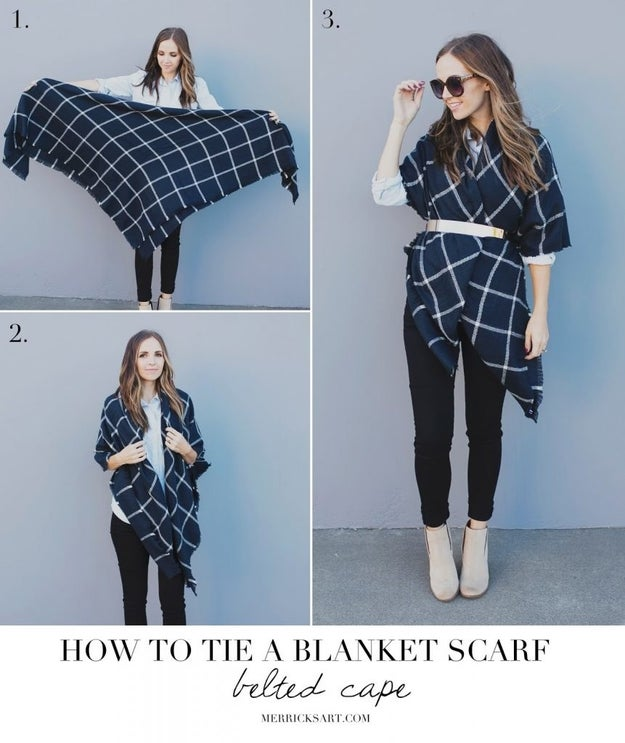 DIY a cape with a giant blanket scarf and a belt.