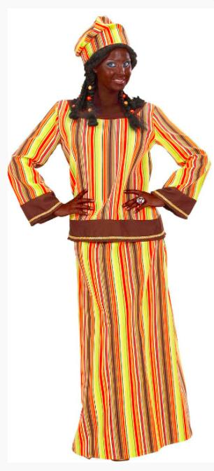 Il y aussi la version femme «comprenant une tunique, une jupe et un calot imprimés de rayures de couleurs vives».