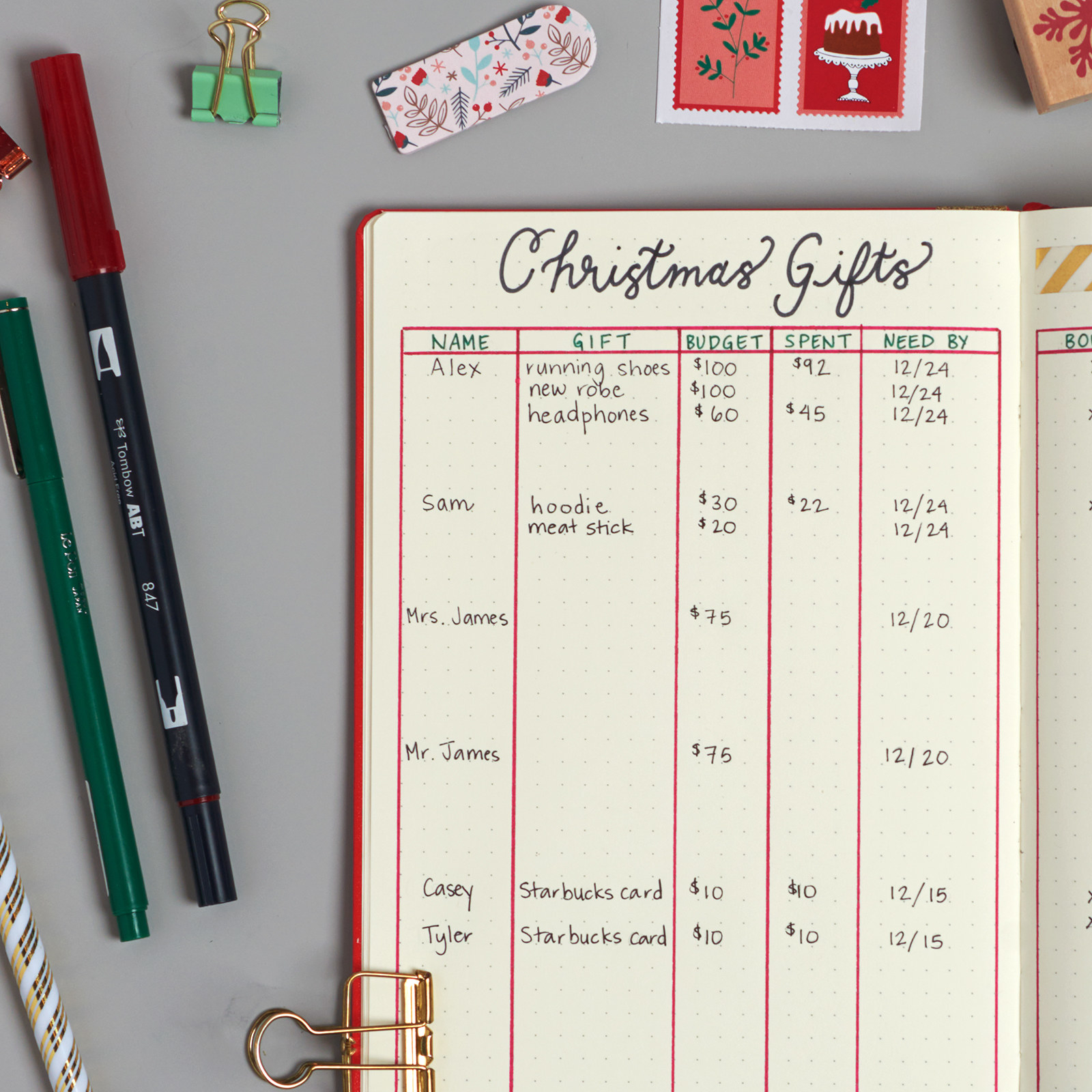 1. Create a spread that helps you keep track of gift ideas and purchases. (Click any image to enlarge.)