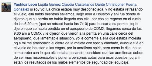 Según una usuaria de Facebook que viajó con Pamela, la dueña del perro regresó inmediatamente a la Ciudad de México para buscar a su perrita.