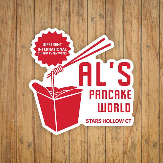 An Al's Pancake World sticker:
