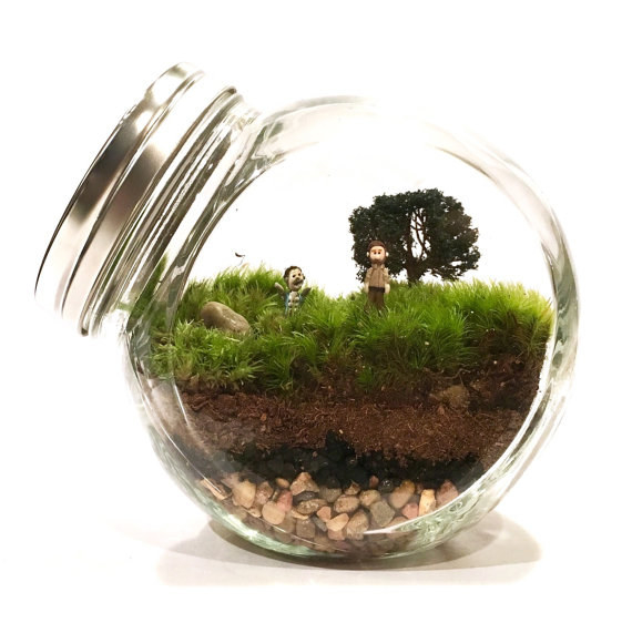 A terrarium with an adorably subtle Walking Dead theme.