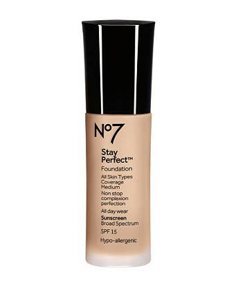 """""""No.7 Stay Perfect foundation is the best foundation I've ever used and helped me control my acne. It's gives amazing coverage, lasts all day, and lets my skin breathe. It's a life saver!""""—jessicao4441f2a0eGet it here, for $16."""