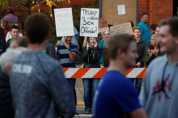 Protesters at a Trump rally at the University of Wisconsin-Eau Claire.