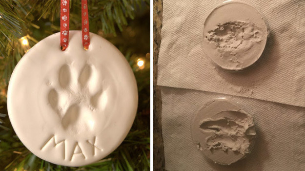 These attempts at a paw print ornaments that turned out... interesting:
