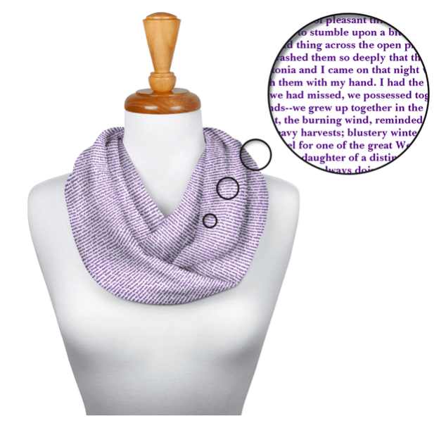 Now you can accessorize Willa Cather's gorgeous prose. Get it for $39 at Litographs. (They also have posters, totes, T-shirts, and temporary tattoos!)