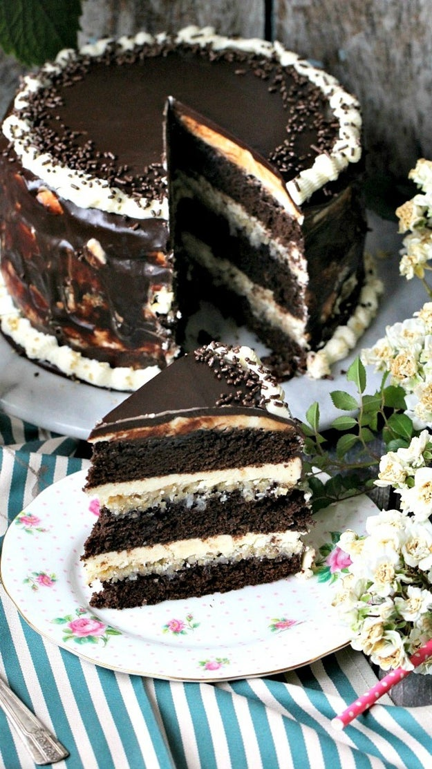 Three Layers Chocolate Brownie Cake