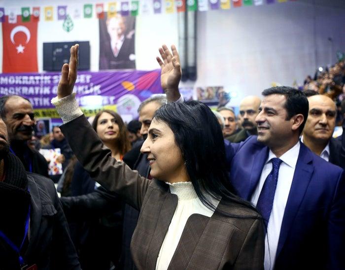 Co-leaders of the pro-Kurdish Peoples' Democratic Party (HDP) Selahattin Demirtas and Figen Yuksekdag