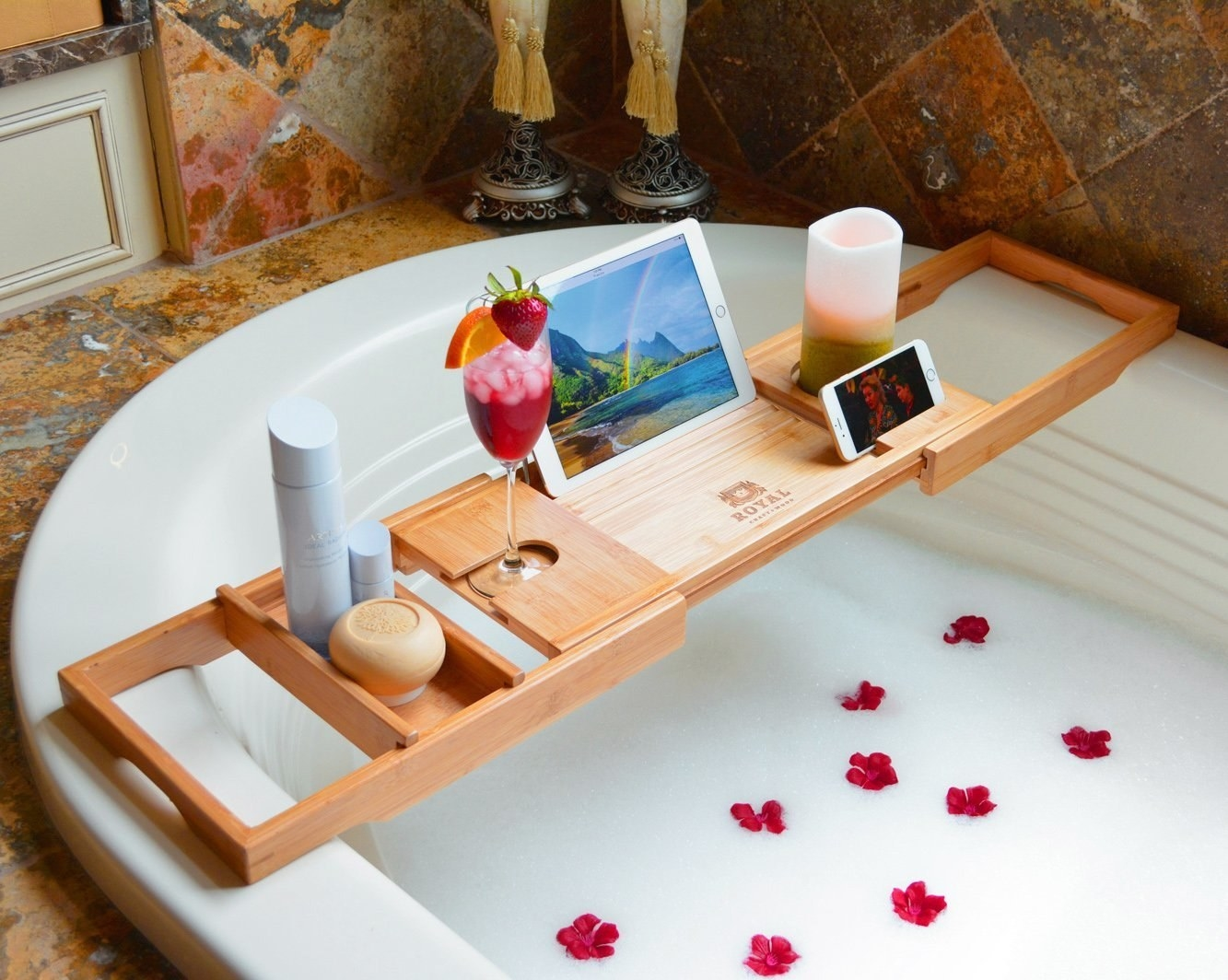 the bamboo tray in the bathtub