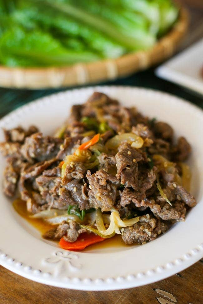 What is it? Marinated beef.If you love meat, but also have a sweet tooth, this one's for you. It tastes a lot like galbi, but it's made with a thinner cut of meat. Recipe here.