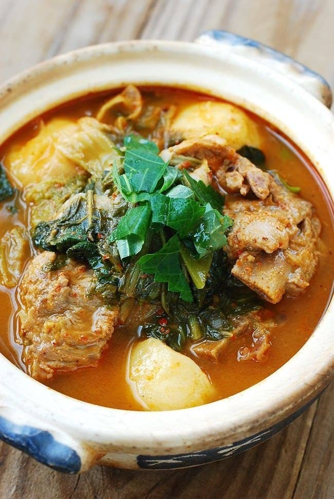 What is it? Spicy pork bone stew with potatoes.Pork bones are boiled with green vegetables until the meat is just barely hanging on to the bone — probably why you can eat this entire soup with just a pair of chopsticks. Recipe here.