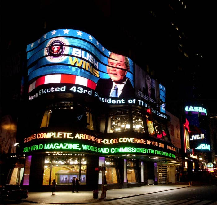 A video screen broadcasts the results of the presidential elections on Nov. 8, 2000, in the early morning hours in Times Square in New York City. George W. Bush was prematurely declared 43rd president of the United States in one of the closest elections in history.