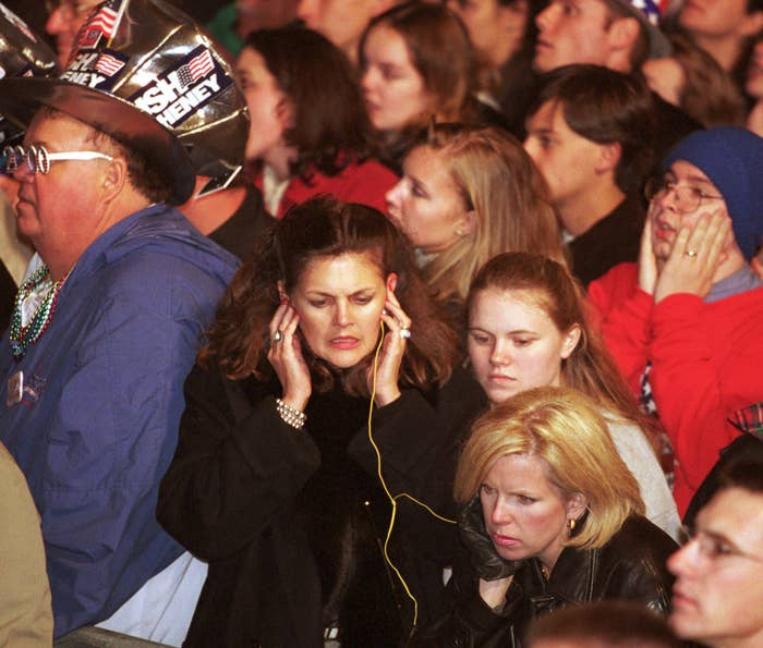 Supporters of George W. Bush react to results of the presidential election outside the Texas State Capitol in Austin, Nov. 8, 2000. Bush was prematurely announced the winner in the election early in the morning.