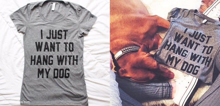 Because let's face it, most dog owners enjoy their dog's company over people. #truth I Just Want To Hang With My Dog T-shirt by TheDailyTay $24+
