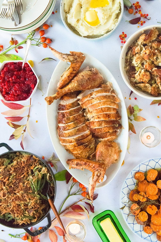 If you're up for cooking the whole feast by yourself, PROPS TO YOU (and check out how to host for under $100, from scratch, here). But if you'd rather spend the day drinking, inhaling appetizers, and watching the big football game instead of brining a turkey, these meal-delivery solutions are the ultimate key to holiday freedom.