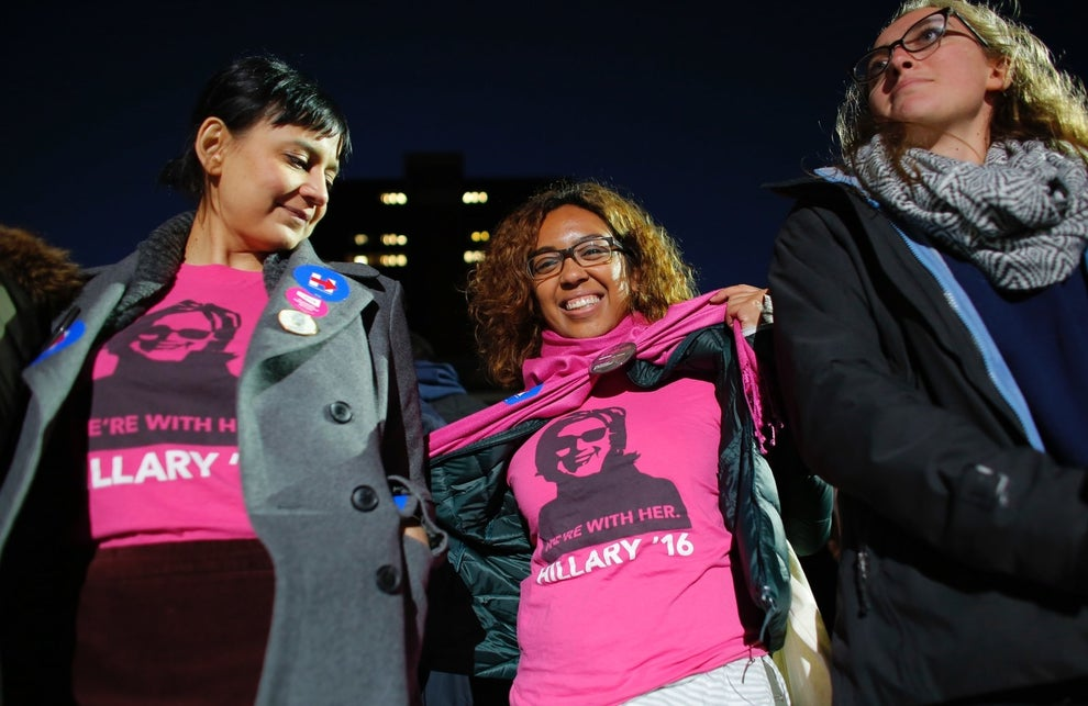 Voters brought out their Clinton apparel to support the candidate on the eve of the election.