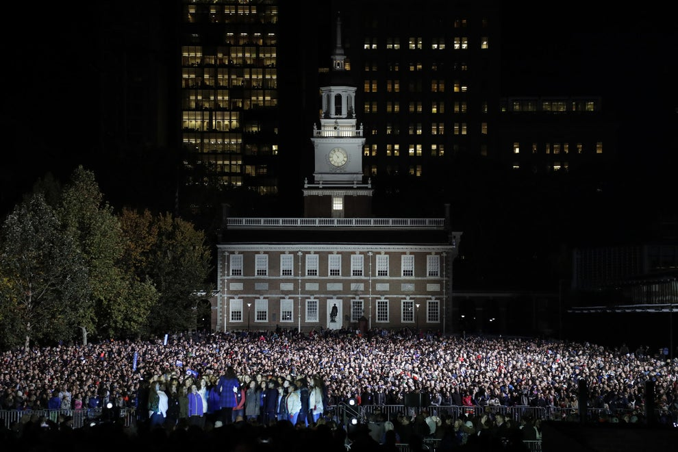 Around 40,000 people gathered Monday night at Independence Mall in Philadelphia to support Hillary Clinton.