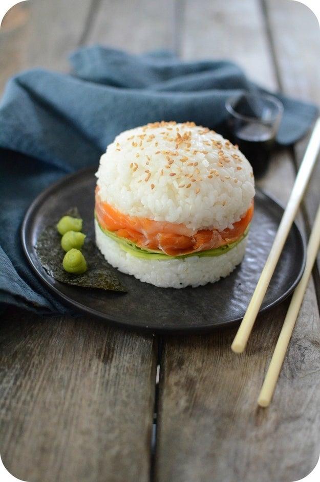 Smoked Salmon Sushi Burger