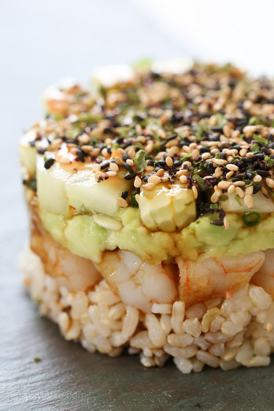 Spicy California Roll Shrimp Stack