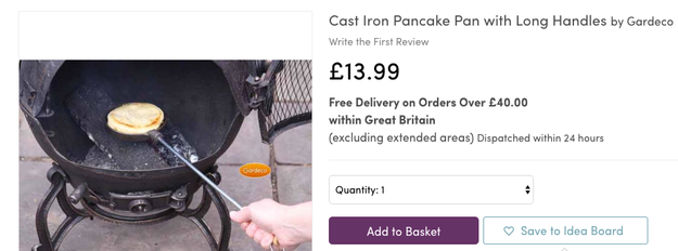 This long-handled pancake pan that will make one smol pancake on your fire JUST LIKE YOU ALWAYS DREAMED.