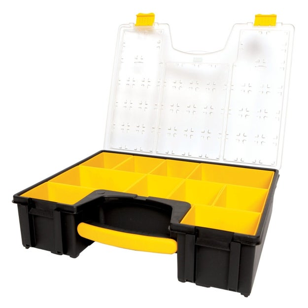 Stash nuts, bolts, and other tiny things in this compartment organizer with extra-deep, removable cups.