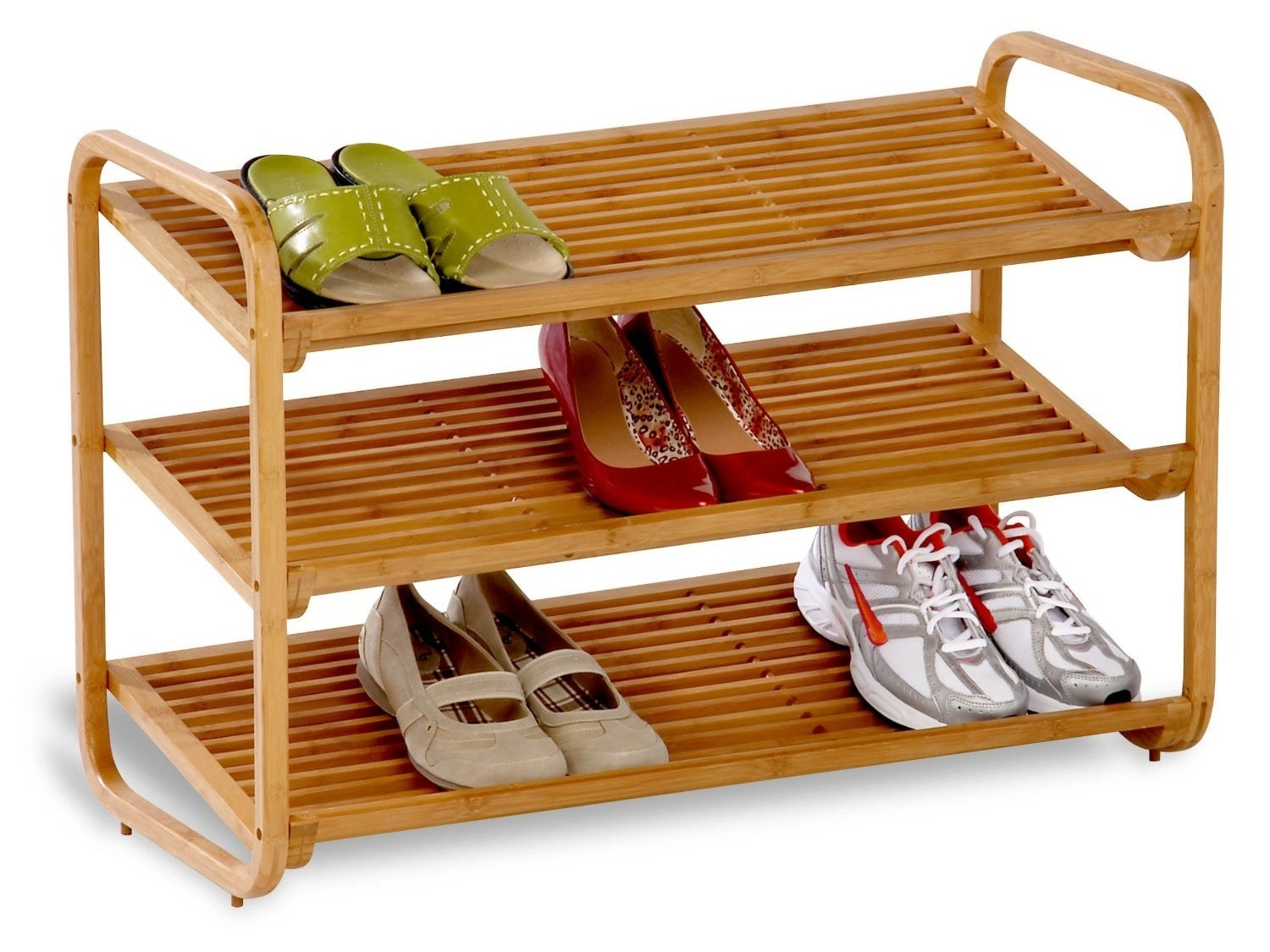 Declutter your entry with a bamboo shoe shelf that's naturally water-resistant and pretty.