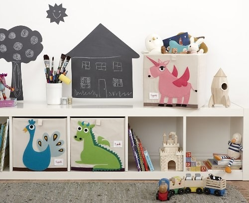 Organize toys in adorable animal bins as a kid-friendly alternative to plain baskets.