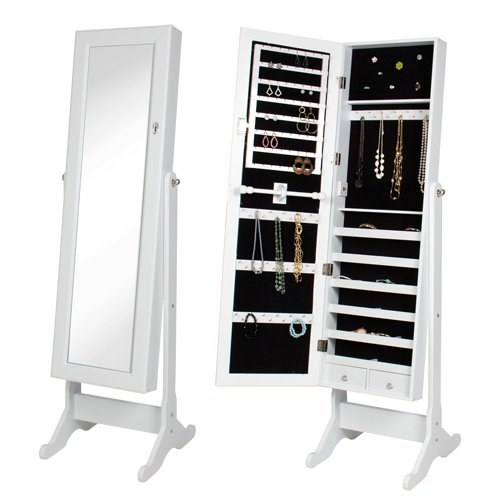 Store all your precious baubles under lock and key in this mirrored armoire.