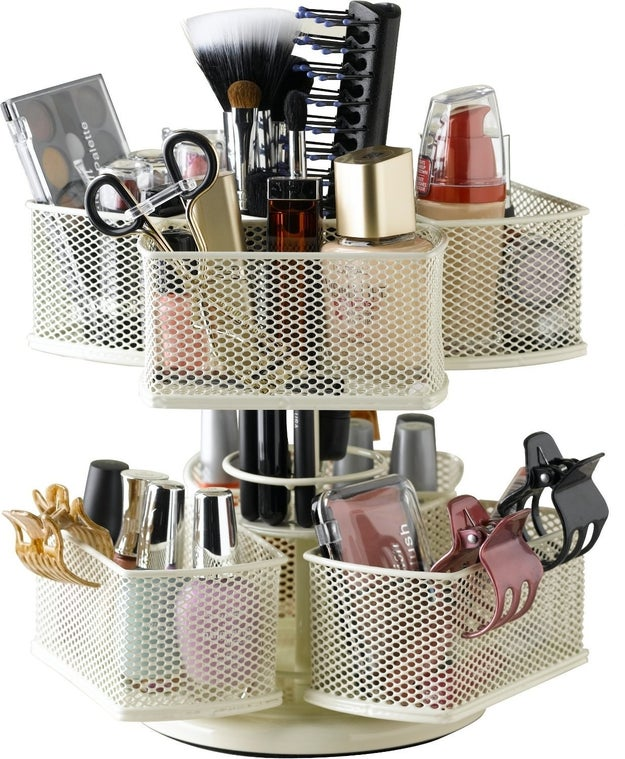 Reinvent the wheel with a cosmetic carousel to keep all your beauty needs at your fingertips.